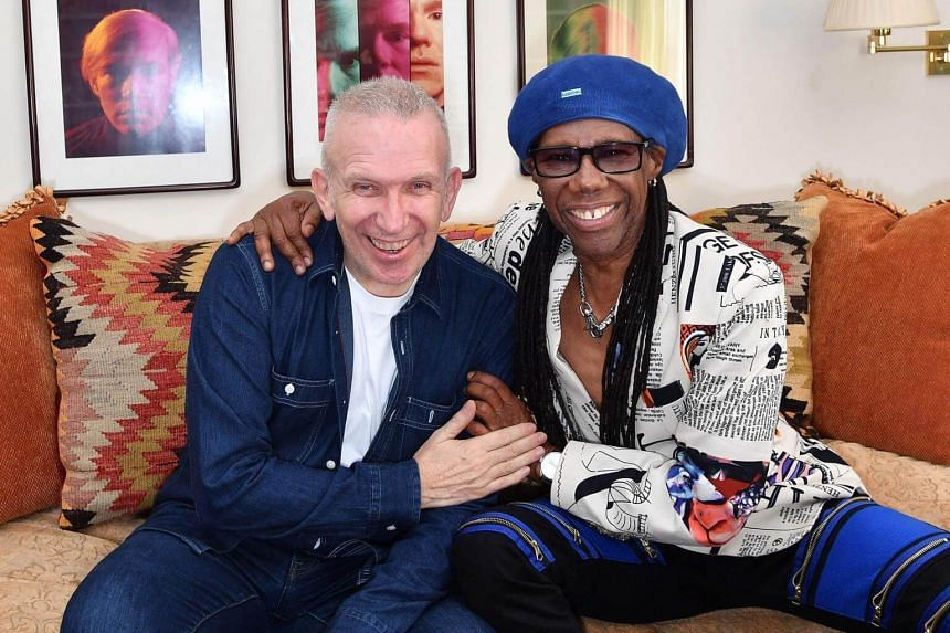 Fashion designer Jean Paul Gaultier (left) and record producer Nile Rodgers posing for a photo on May 3, 2018, in Westport, Connecticut.