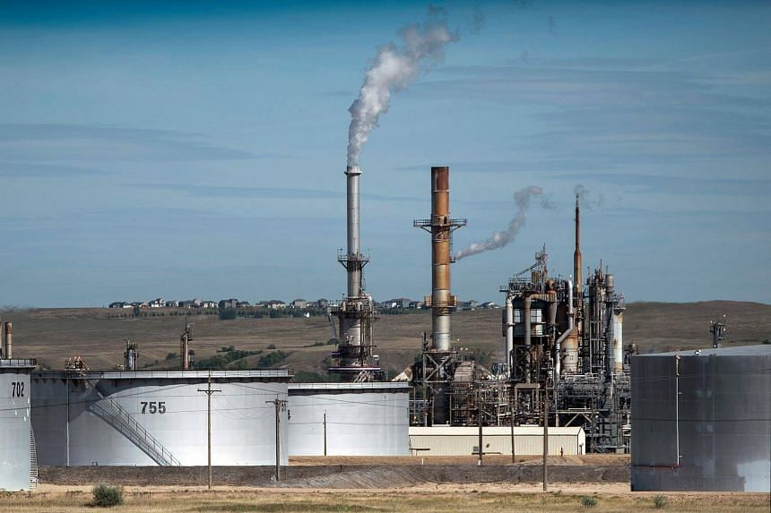 File photo showing an oil refinery in North Dakota, USA, on Sept 6, 2017.