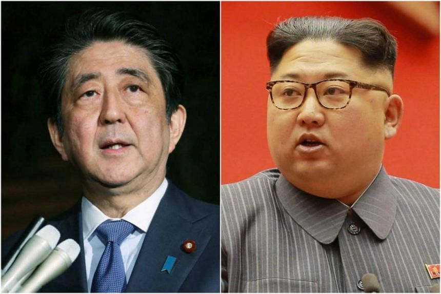 Japanese Prime Minister Shinzo Abe (left) and North Korean leader Kim Jong Un. Japan has been plagued by exclusion anxiety amid the rapid developments on the Korean peninsula.
