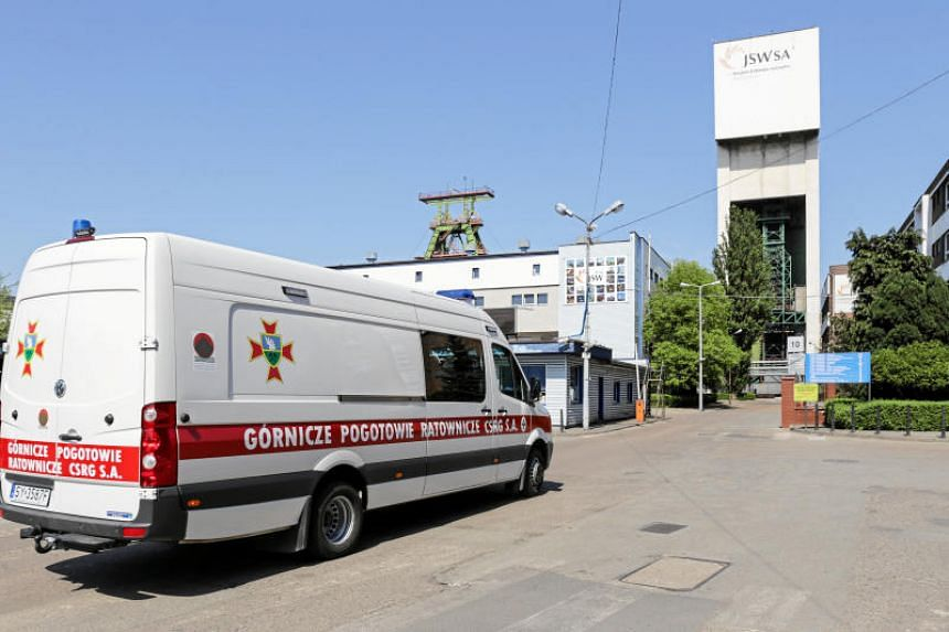 Emergency vehicle parks outside the JSW mine where coal miners are missing underground after a strong quake hit a mine in Jastrzebie Zdroj, Poland on May 5, 2018.