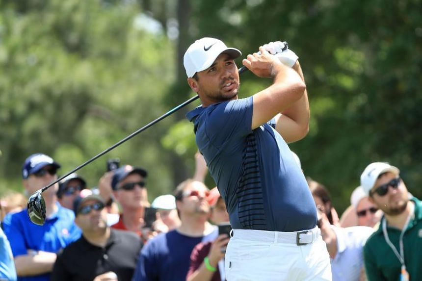 Jason Day of Australia plays his tee shot on the third hole during the final round of the 2018 Wells Fargo Championship at Quail Hollow Club on May 6, 2018 in Charlotte, North Carolina.