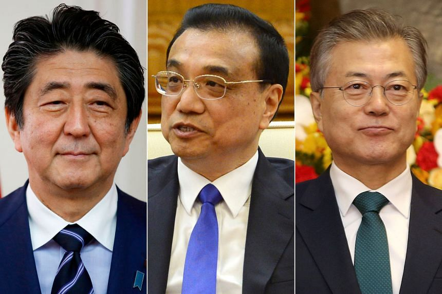 (From far left) Mr Shinzo Abe, Mr Li Keqiang and Mr Moon Jae In will be at the summit.