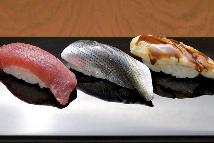 (From left) Tuna, kohada dotted gizzard shad and simmered anago conger eel from Sukiyabashi Jiro.