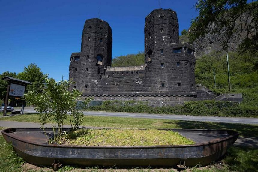 "Two towers of the destroyed ""Bridge at Remagen"" in Erpel, Germany, are pictured on May 7, 2018."