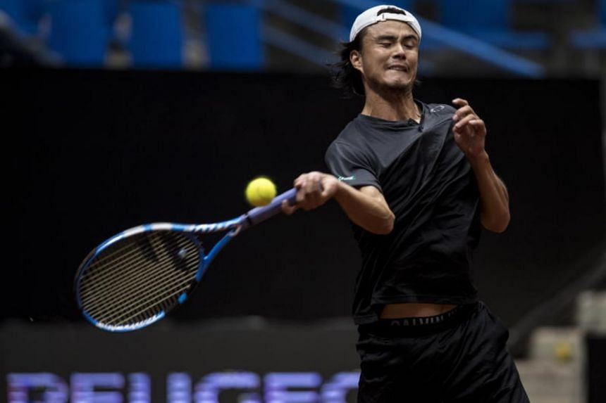 Taro Daniel of Japan in action during the final match against Malek Jaziri of Tunisia at the TEB BNP Paribas Istanbul open tennis tournament in Istanbul, Turkey, on May 6, 2018.