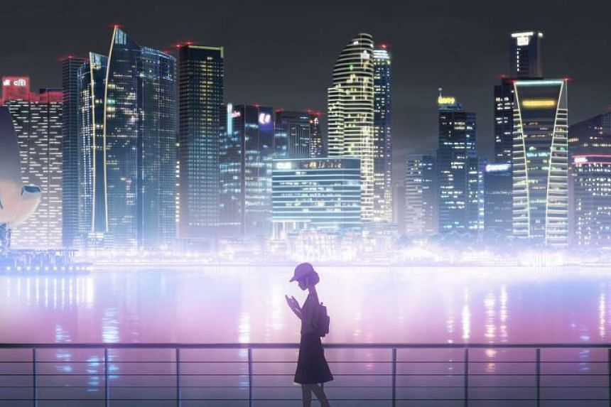 Singapore landmarks such as the Marina Bay skyline are shown in the animated clip.