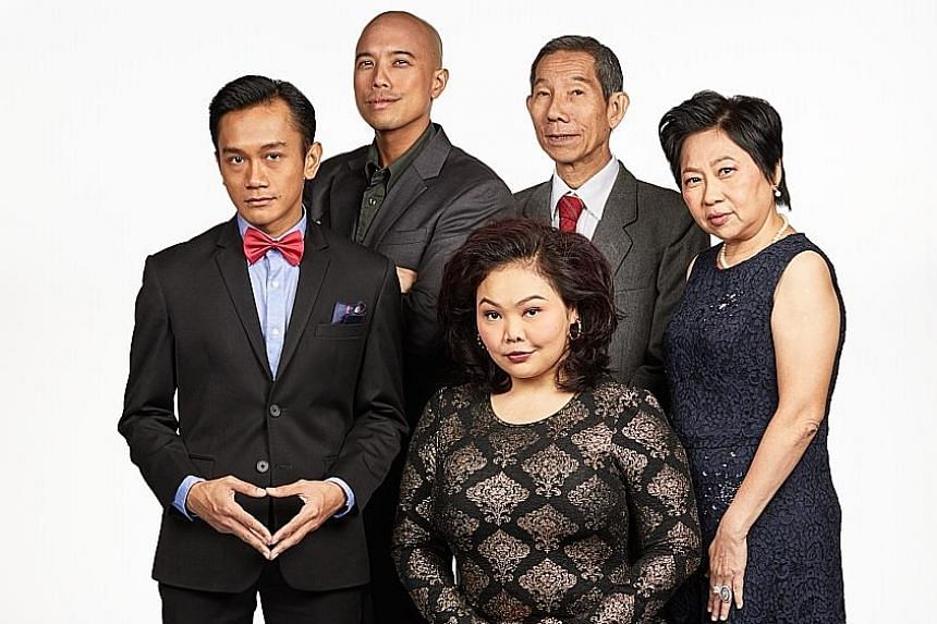 The cast of Underclass comprises (standing, from far left) Yazid Jalil, Brendon Fernandez, Yang Shi Bin, Goh Guat Kian and (seated) Siti Khalijah Zainal.