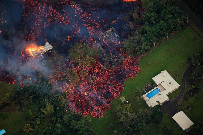 Lava from a robust fissure eruption (above) on Kilauea's east rift zone near Pahoa consumes a home, then threatens another. At least 26 homes have already been destroyed. An apparent lull in activity on Sunday allowed some evacuated residents of Leil