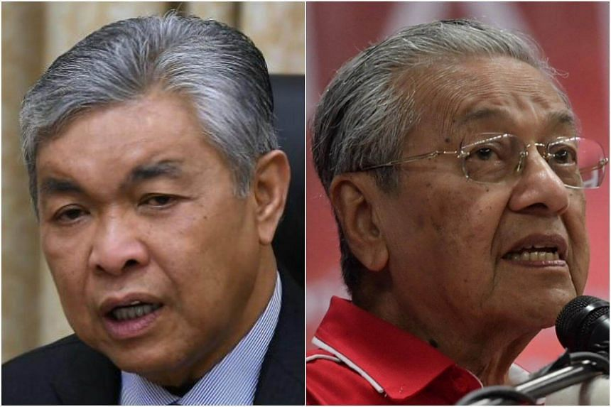 Malaysia's Deputy Prime Minister Ahmad Zahid Hamidi (left) said Tun Dr Mahathir Mohamad is back in the political arena because he wants his lineage to assume power.