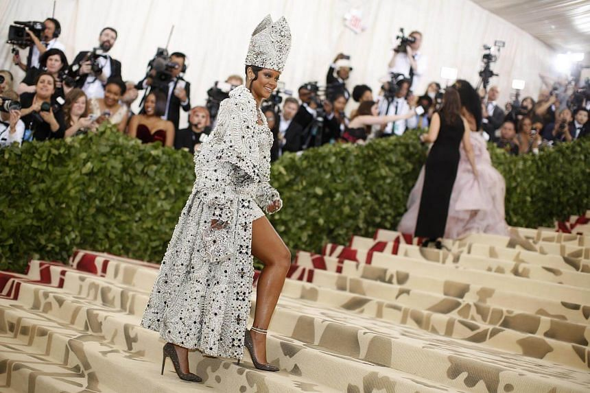 Singer Rihanna arrives at the Metropolitan Museum of Art Costume Institute Gala (Met Gala) to celebrate the opening of Heavenly Bodies: Fashion and the Catholic Imagination in New York, on May 7, 2018.