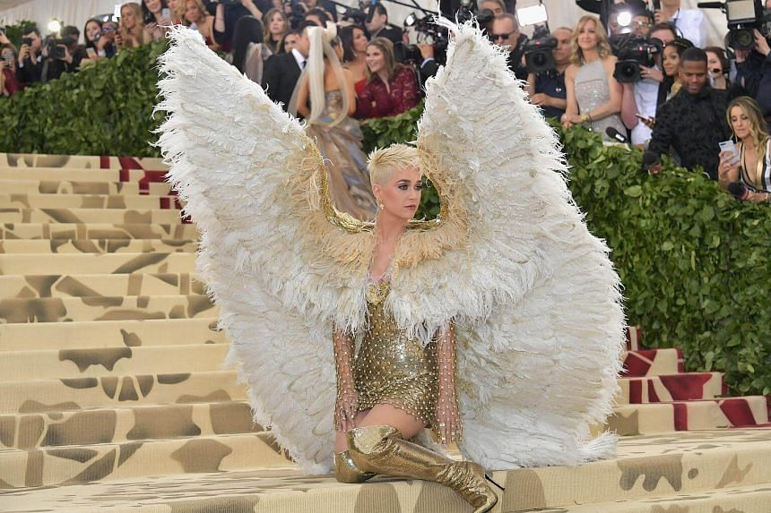 Singer Katy Perry arrives at the Metropolitan Museum of Art Costume Institute Gala (Met Gala), on May 7, 2018.