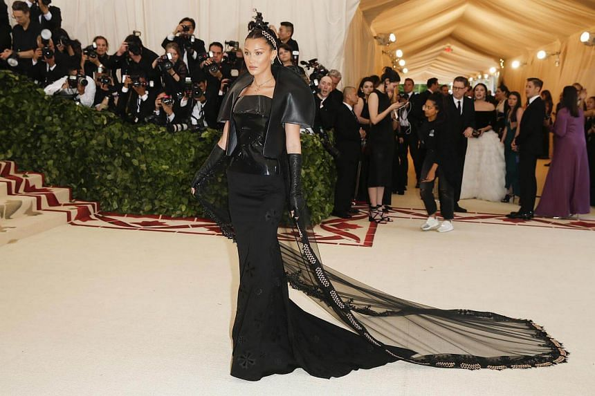 Model Bella Hadid arrives at the Metropolitan Museum of Art Costume Institute Gala (Met Gala), on May 7, 2018.