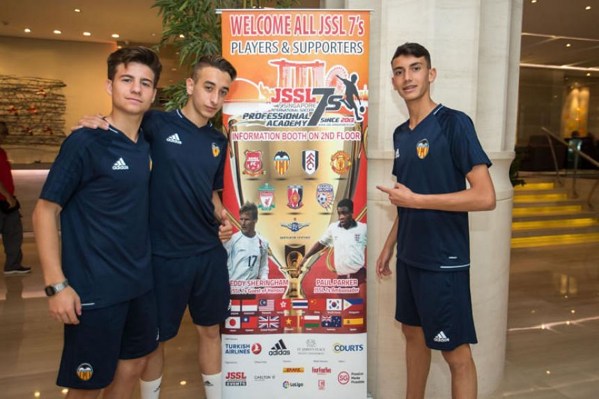 (From left) Valencia CF Academy players Andres Garcia, Dario Serra and Ruben Iranzo were in Singapore for the JSSL International Sevens.