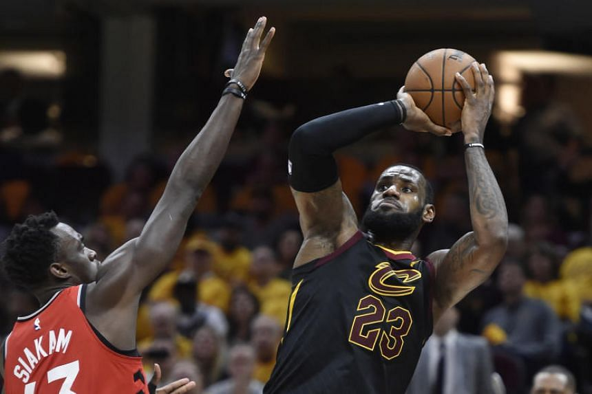 Cleveland Cavaliers forward LeBron James makes a shot during game four of the second round of the 2018 NBA Playoffs against Toronto Raptors  at Quicken Loans Arena in Cleveland on May 7, 2018.