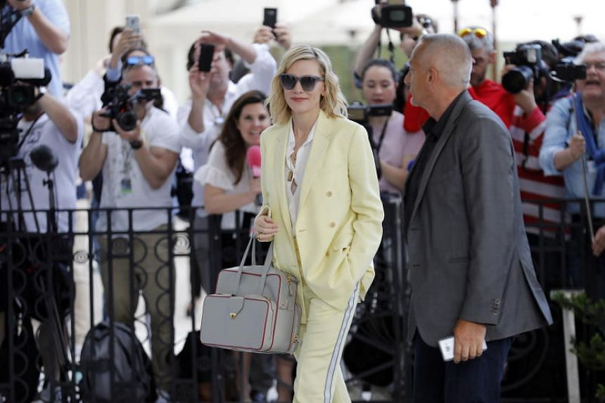 Jury member, Australian actress Cate Blanchett (centre) arrives at a cocktail reception for the jury at the Martinez Hotel ahead of the 71st annual Cannes Film Festival, in Cannes, France, on May 7, 2018. The festival runs from May 8 to 19.