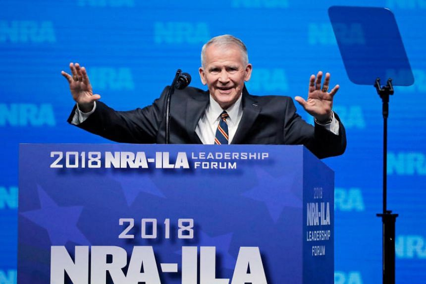 US Marine Corps Lt. Col. (Ret.) Oliver North speaks at an NRA convention in Dallas, Texas, US on May 4, 2018.