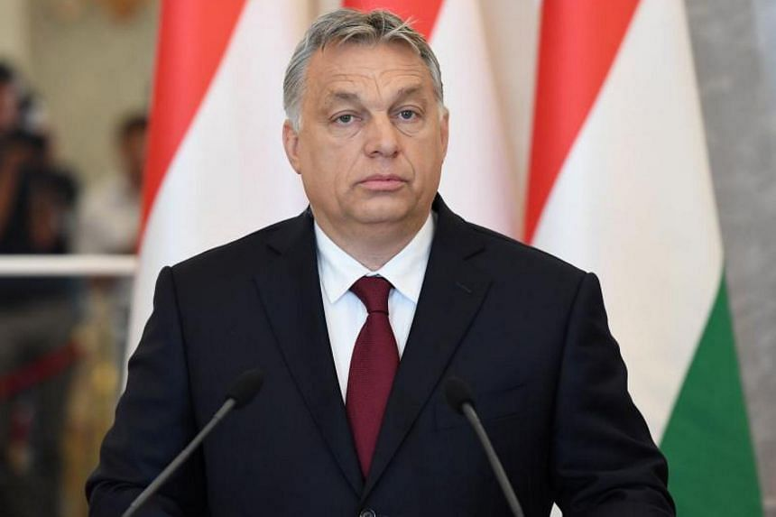 Leader of the Hungarian right-wing Fidesz party Viktor Orban gives a statement during a press presentation at the mirror hall of the presidental palace in Budapest, Hungary on May 7, 2018.