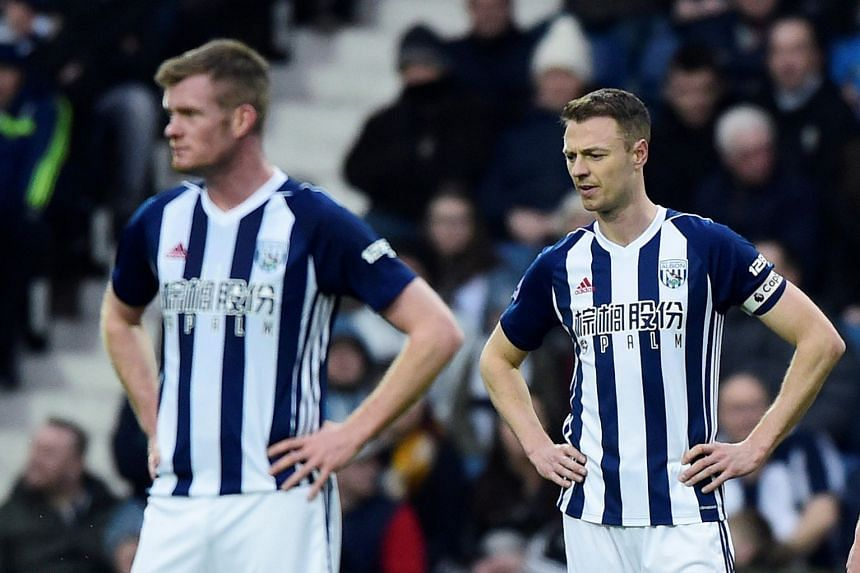 West Brom's Jonny Evans looking dejected during a match against Burnley.
