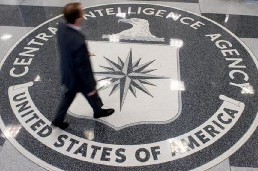 The Central Intelligence Agency (CIA) logo in the lobby of CIA headquarters in Langley, Virginia.