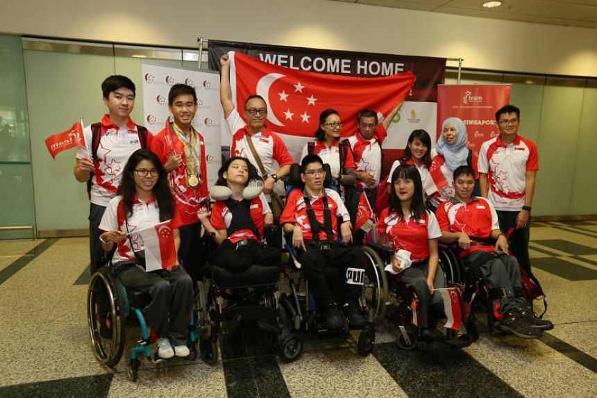 Singapore's Asian Youth Para Games contingent at Changi Airport Terminal 3 on Dec 15, 2017.