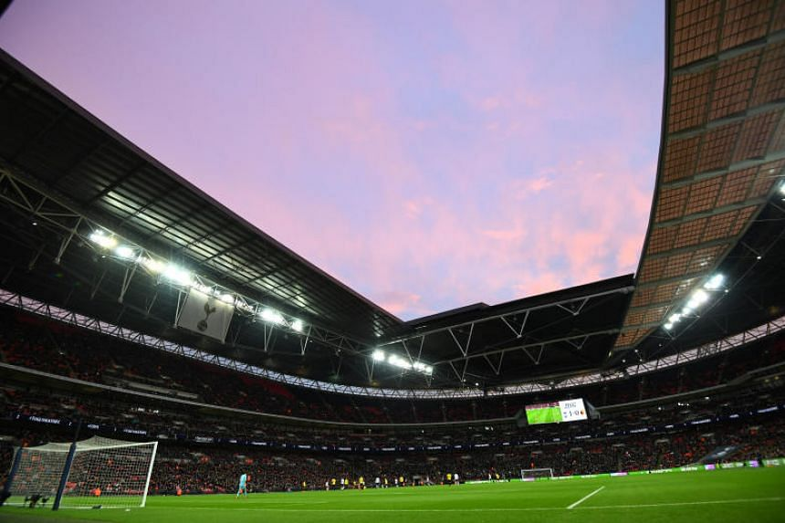 A general view of the English Premier League match between Tottenham Hotspur and Watford at the Wembley stadium on April 30, 2018.