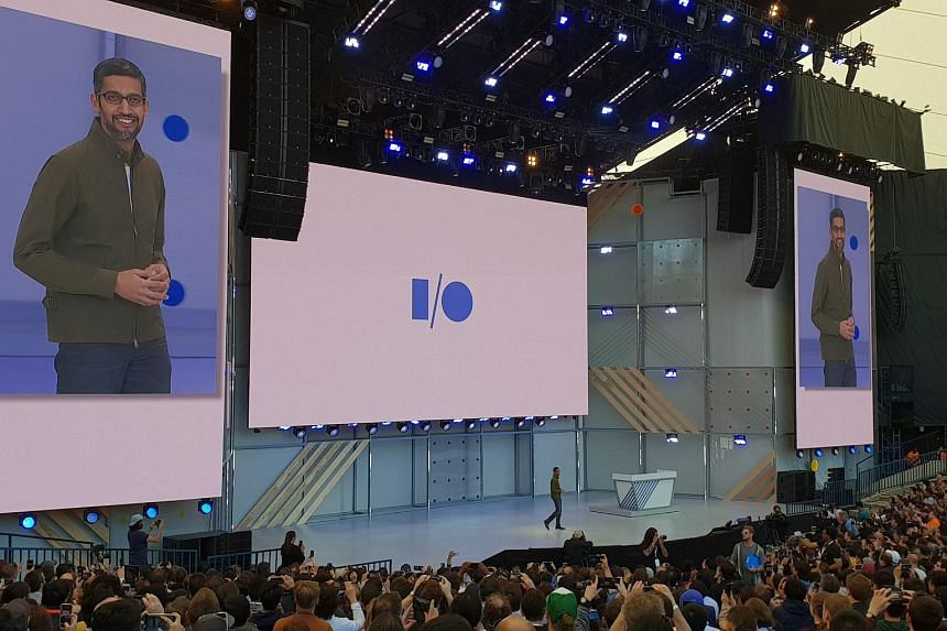 Google chief executive  Sundar Pichai speaking at the opening keynote of Google's annual developer conference.