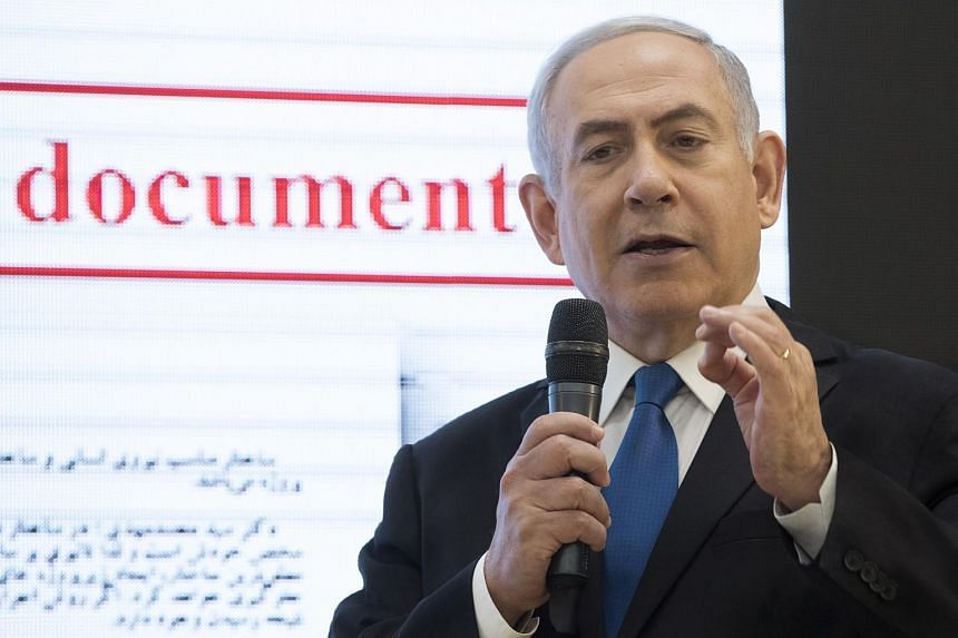 Israeli Prime Minister Benjamin Netanyahu as he describes how Iran has continued with its nuclear capabilities with the purpose of making atomic weapons, in the Israeli Defense Ministry in Tel Aviv, Israel, on April 30, 2018.