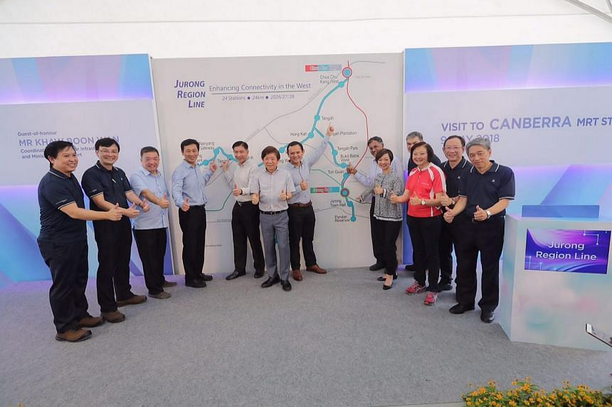 Transport Minister Khaw Boon Wan, together with grassroots advisers and Land Transport Authority executives, unveiled the alignment and stations of the Jurong Region Line on May 9, 2018.