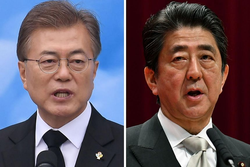 """Japan's Prime Minister Shinzo Abe (right) is likely to push for continued pressure on Pyongyang, including for """"complete, verifiable and irreversible denuclearisation"""" but South Korea's President Moon, however, is expected to bat away such demands."""