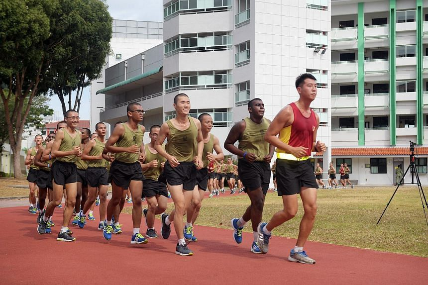 National service recruits training at the Basic Military Training Centre (BMTC) on Pulau Tekong on Feb 27, 2018.