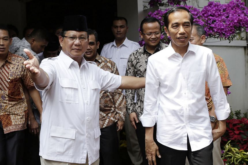 Mr Prabowo Subianto (far left), leader of the main opposition party Gerindra, is seen as Indonesian President Joko Widodo's (left) only real competition in the next election and is being wooed by the President to form an alliance, while other potenti