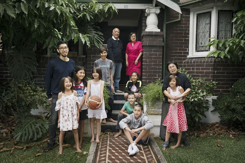 The Leanfore family at their home in the Corydon suburb of Sydney on April 30. This year marks 200 years of Chinese migration to Australia.