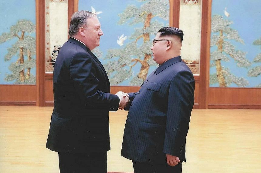 Mr Mike Pompeo at a meeting with Mr Kim Jong Un in Pyongyang at the Easter weekend.