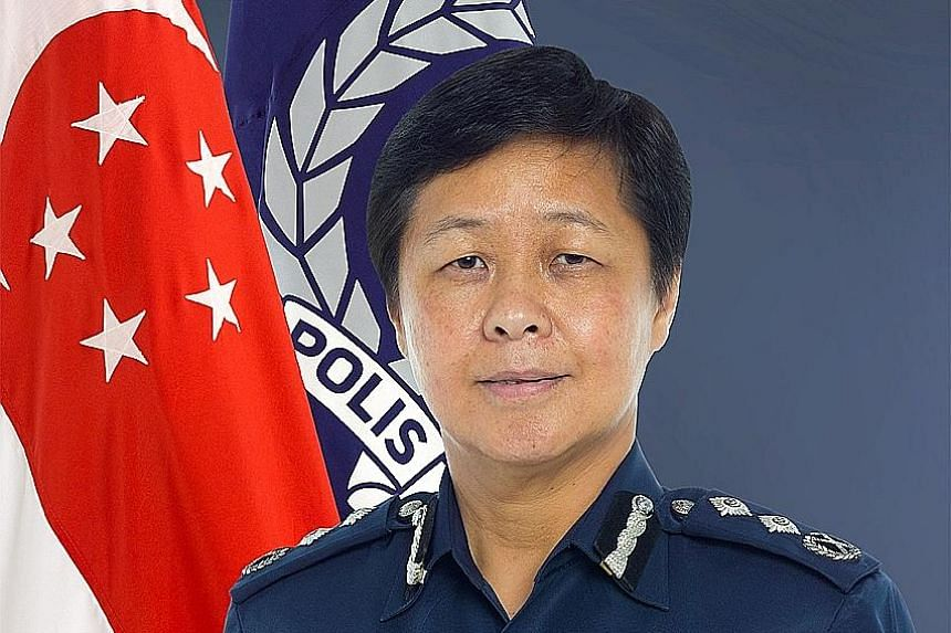 Incoming CID chief Florence Chua (left) will also assume the role of Deputy Commissioner of Police (Investigations and Intelligence). The others involved in the reshuffle are (clockwise from top left) Mr Tan Chye Hee, Mr Lau Peet Meng, Mr Jerry See a
