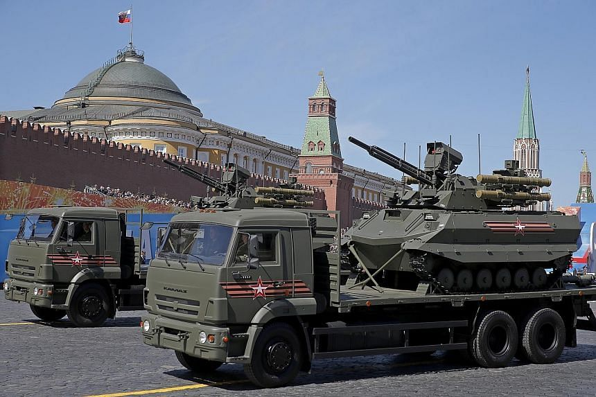 Russia's newest robotic complex Uran-9 being rolled out at the Victory Day military parade in the Red Square in Moscow, Russia, yesterday to mark the 73rd anniversary of the victory over Nazi Germany in World War II.