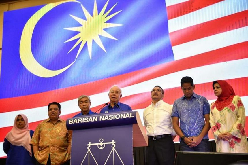 Prime Minister Najib Razak at a press conference on May 10, 2018, a day after Malaysia's general election.
