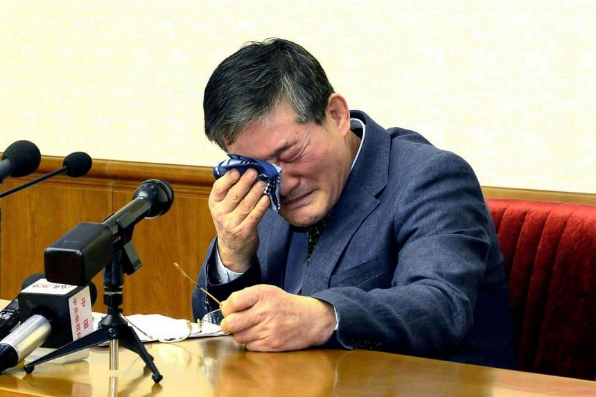 Korean-American Kim Dong Chul as he addresses a news conference in Pyongyang, on March 25, 2016.