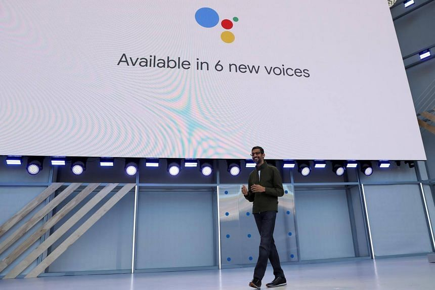 Google CEO Sundar Pichai speaks on stage during the annual Google I/O developers conference in Mountain View, California, on May 8, 2018.