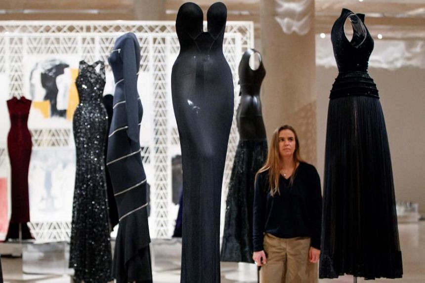 Dresses by Tunisian-born designer Azzedine Alaia, in a collection entitled Black Silhouette, ahead of a forthcoming exhibition of the designer's work, called Azzedine Alaia : The Couturier at London Design Museum in London on May 9, 2018.