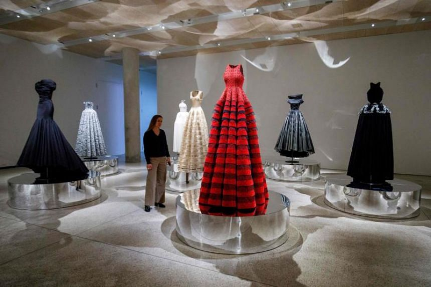 Dresses by Tunisian-born designer Azzedine Alaia, in a collection entitled Exploring Volume 2017, ahead of a forthcoming exhibition of the designer's work, called Azzedine Alaia : The Couturier at London Design Museum in London on May 9, 2018.