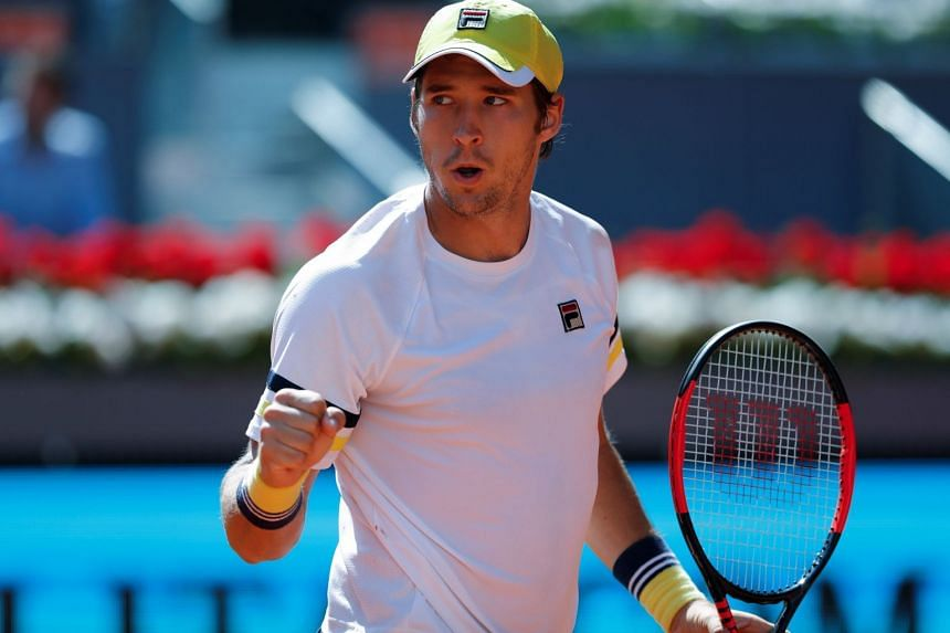 Lajovic reacts against Argentinian Juan Martin del Potro during their match.