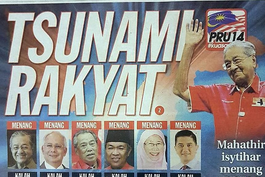 Front pages of Malaysian newspapers (from far left) The Star, Utusan Malaysia and Sinar Harian yesterday.The dynamics between the mainstream media and Barisan Nasional, which controls the main media outlets, will be closely watched.