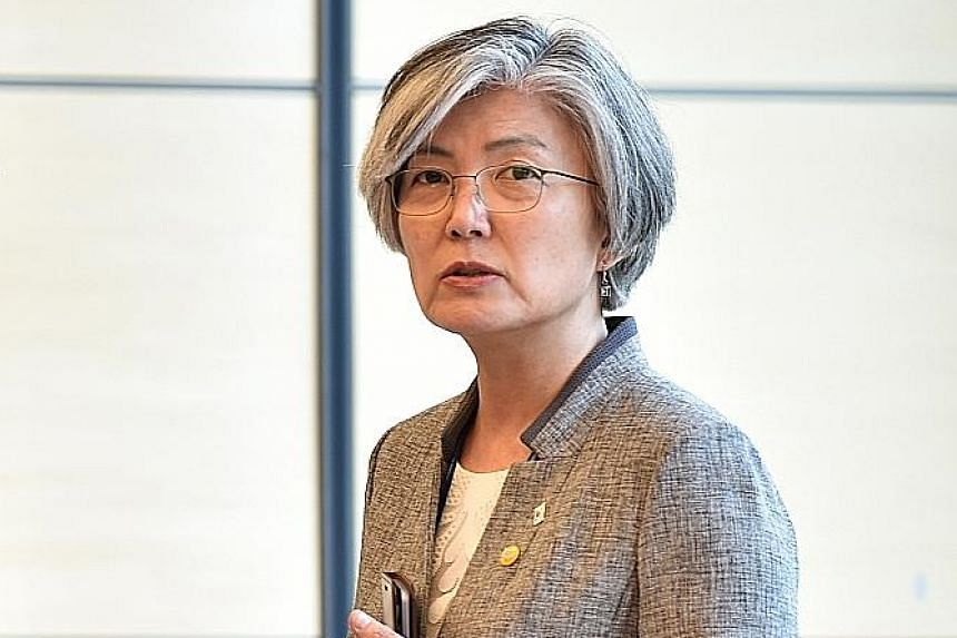 South Korean Foreign Minister Kang Kyung Wha's discussions with US Secretary of State Mike Pompeo are expected to set the stage for a summit between their leaders later this month.