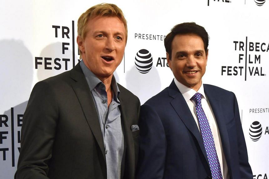 Billy Zabka and Ralph Macchio attend the World Premiere of Youtube Red original series Cobra Kai during the 2018 Tribeca Film Festival at SVA Theatre in New York on April 24, 2018.