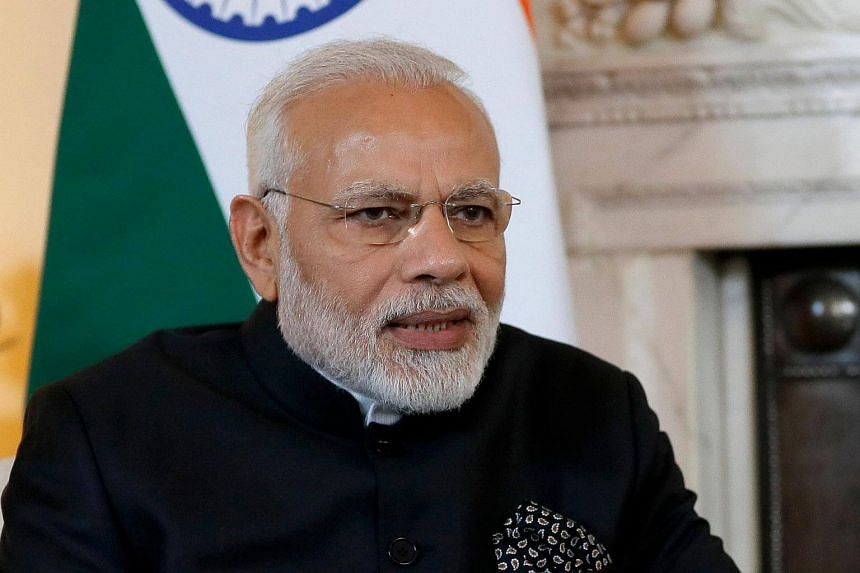 India's Prime Minister Narendra Modi speaks during a meeting in central London on April 18, 2017.