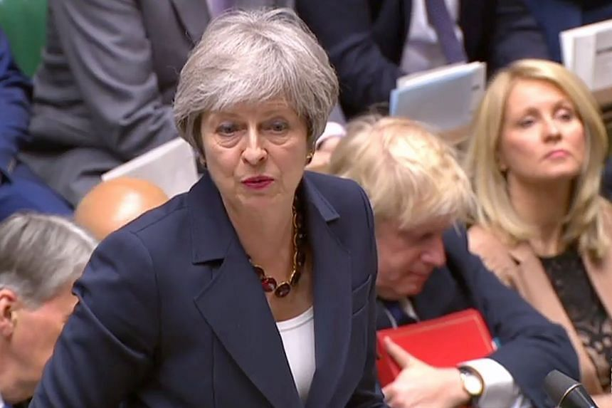 Theresa May speaking during the weekly Prime Minister's Questions session in Parliament.