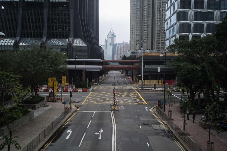 A blocked road in the Wanchai district of Hong Kong on May 11, 2018, a day after a US-made bomb dropped during World War II was discovered at a harbourfront construction site.