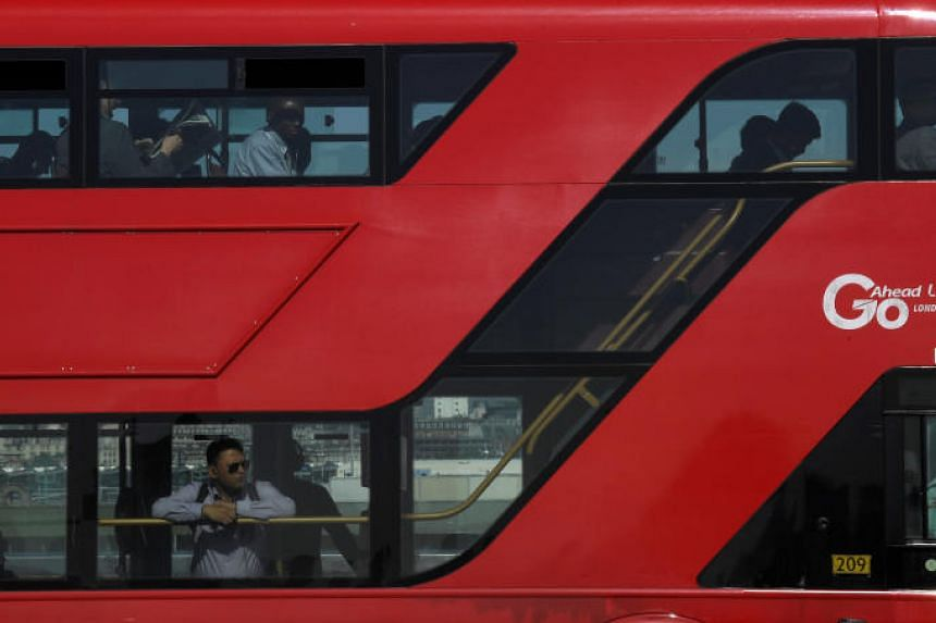 A traditional London bus in London, Britain.
