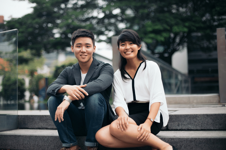 In the early days of their business, Mr Eugene Cheng (left) and Ms Koh Kai Xin would sometimes have to go for months without pay, but are now heads of a creative agency that made six figures in revenue last year. PHOTO: HIGHSPARK