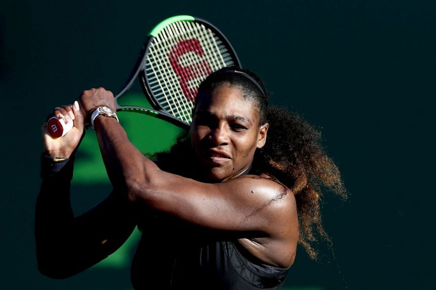 Serena Williams returning a shot during a game on March 19, 2018, in Key Biscayne, Florida.